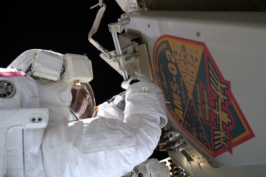 Archive photo shows the cosmic-ray-hunting Alpha Magnetic Spectrometer (AMS-02), which was installed on the exterior of the International Space Station in 2011. European Space Agency/Flickr