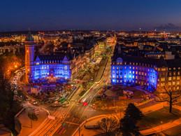 Travaux – Le chantier du tram avenue de la Liberté prend des allures fantomatiques au pied du siège de la Banque et Caisse d'épargne de l'État. ((Photo: John Oesch))