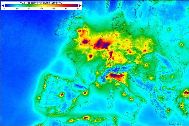 La lutte contre la pollution au NO2, repéré par le satellite Sentinel-5 P, est une des applications possibles des données de Copernicus que la LSA va proposer à de nouveaux acteurs économiques. (Photo: Copernicus)