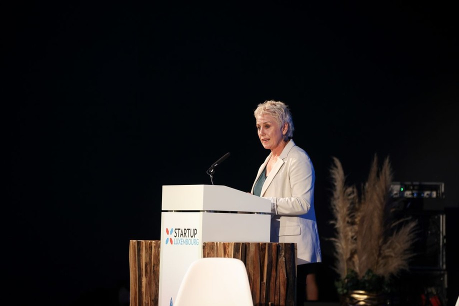Luxinnovation CEO Sasha Baillie is pictured speaking at the launch on Monday 5 July 2021 Photo:  Sophie Margue/Luxinnovation