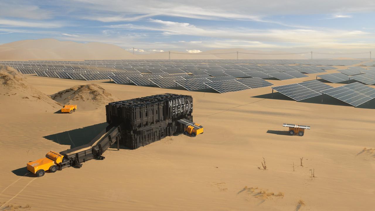 Maana Electric produit de l'énergie photovoltaïque à partir de tout type de sable. Sans eau ni produit chimique, ni même cadre en aluminium. (Photo: Maana Electric)