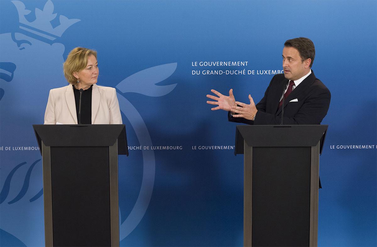 La ministre de la Santé, Paulette Lenert, et le Premier ministre, Xavier Bettel. (Photo:SIP / Jean-Christophe Verhaegen)