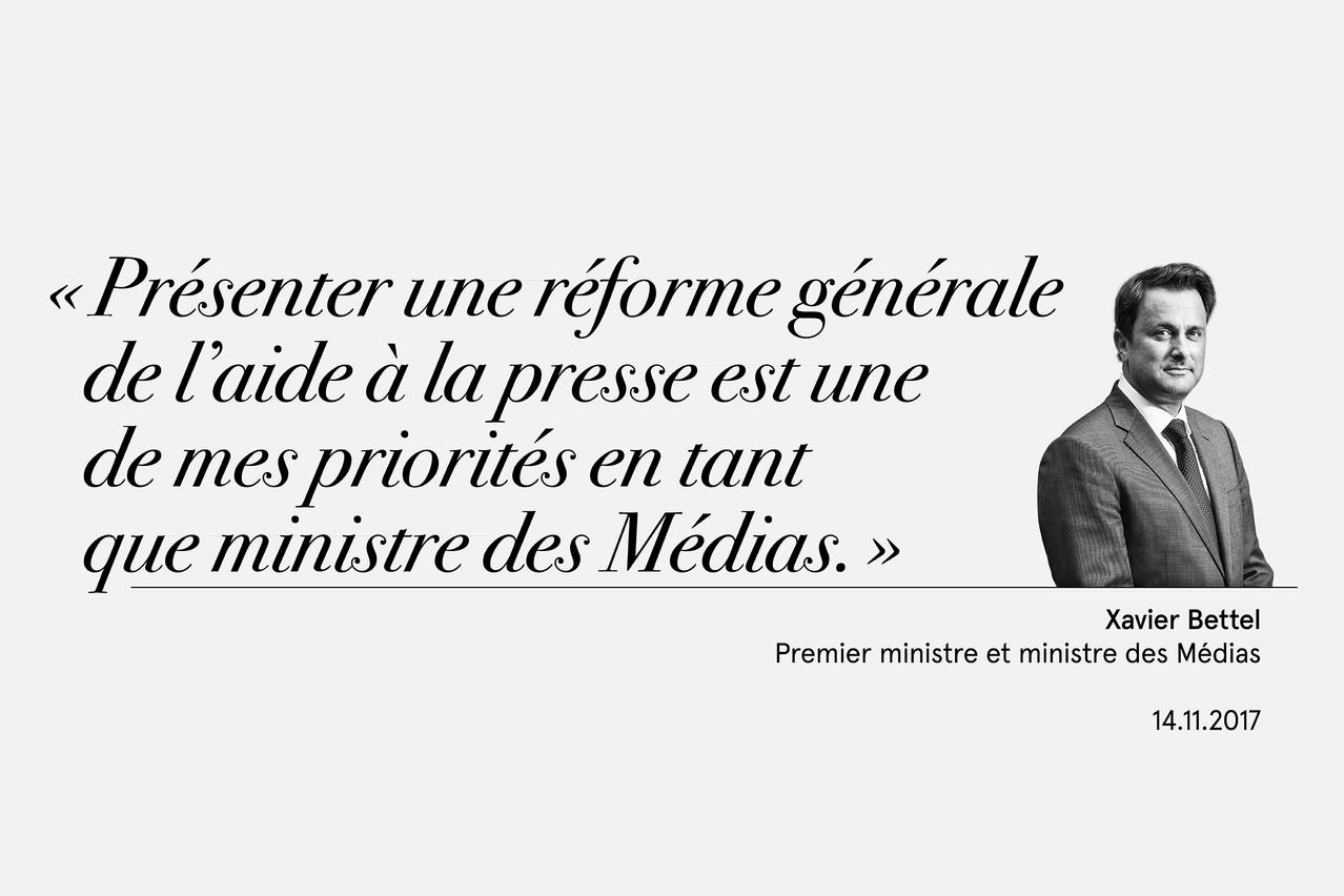 Xavier Bettel, le 14 novembre 2017, lors d'un message vidéo adressé aux participants à un débat organisé par Maison Moderne sur l'aide de l'État à la presse. (Illustration: Maison Moderne)