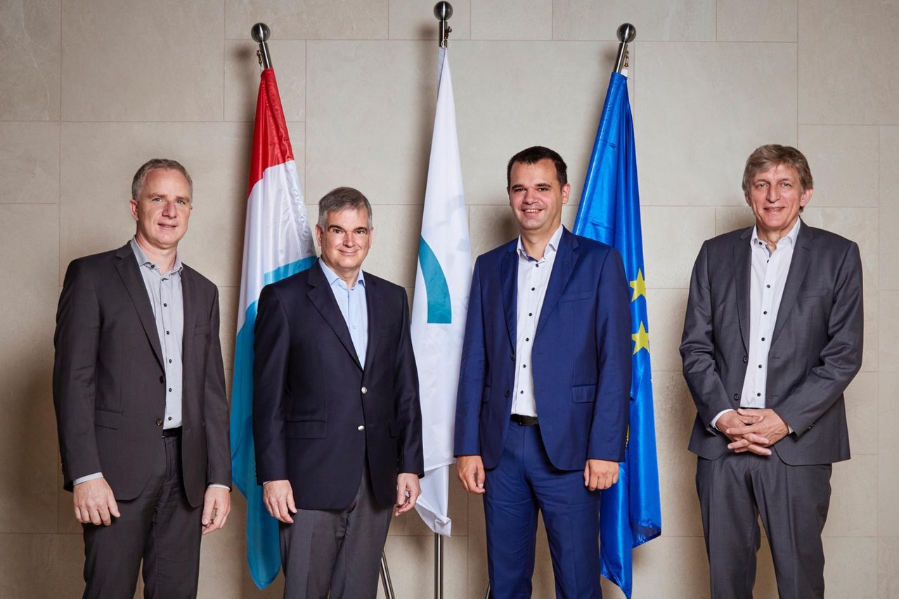 Claude Meurisse ( COO, L uxhub),   Claude Marx (d irector  g eneral, CSSF ),   Jacques Pütz ( CEO, L uxhub), Jean Hilger (c hairman, L uxhub) Photo: Luxhub