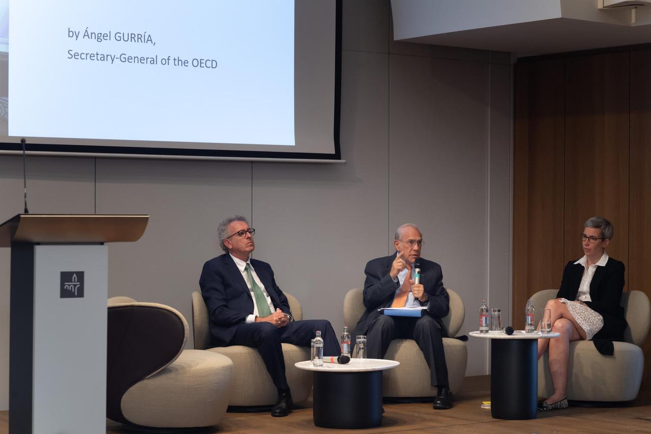 Pierre Gramegna, ministre des Finances;Angel Gurria, secrétaire général de l'OCDE et Sam Tanson, ministre du Logement. (Photo: Nader Ghavami)