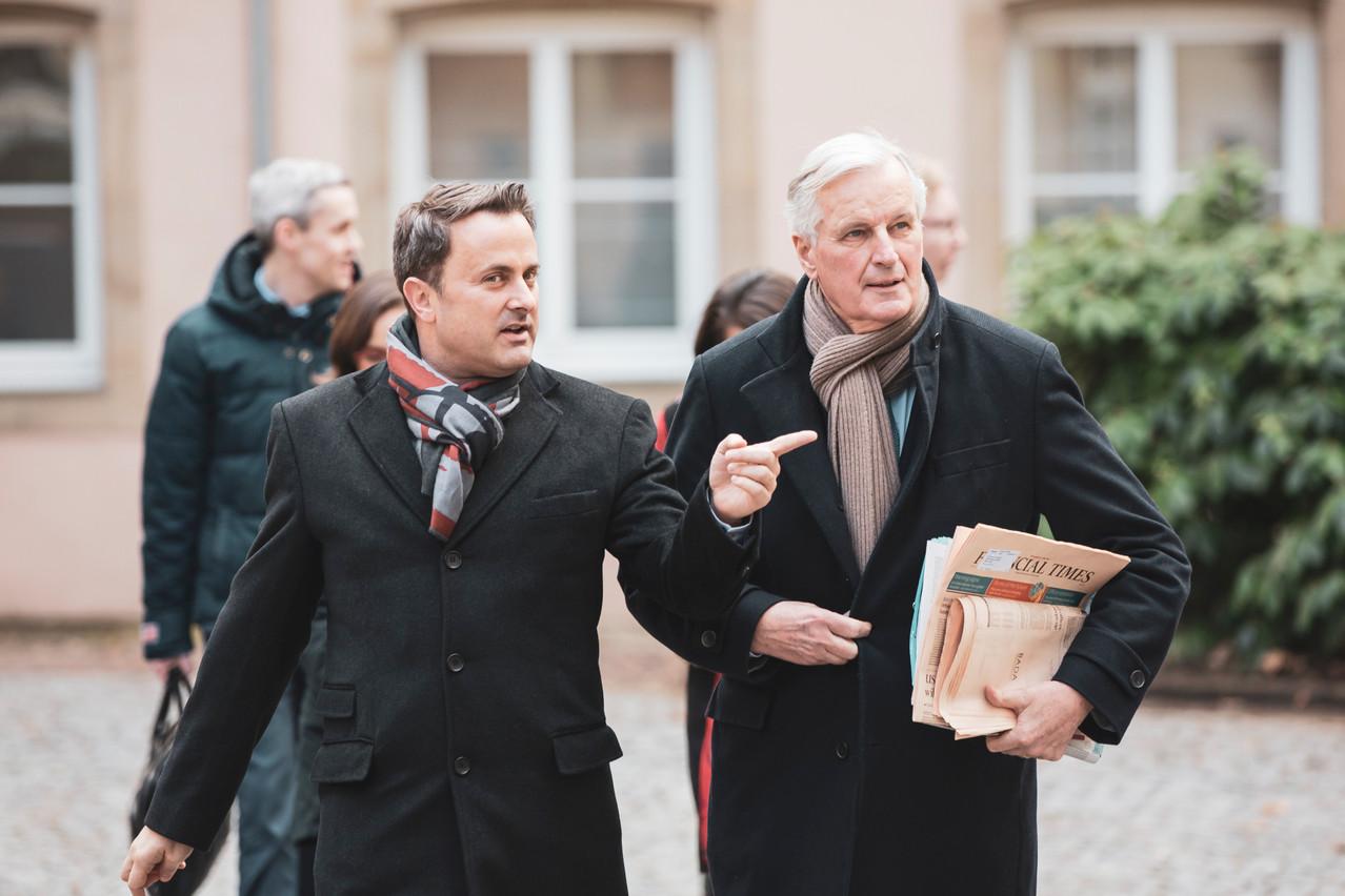 XavierBettel et MichelBarnier se retrouvent cette fois à Senningen. (Photo: Jan Hanrion /Maison Moderne/Archives)