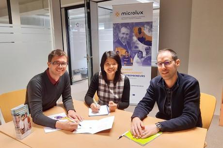 Samuel Paulus, Anh Quyen Ngo Li etJérémy del Rosario: l'équipe de Microlux veut éviter les catastrophes chez les microentrepreneurs fragilisés par la crise sanitaire. (Photo: Microlux)