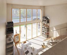 Une des spécificités du projet est de proposer des home offices, des espaces qui combinent zone de bureau ou d'atelier et logement. (Illustrations: Petitdidierprioux/Ponnie images)