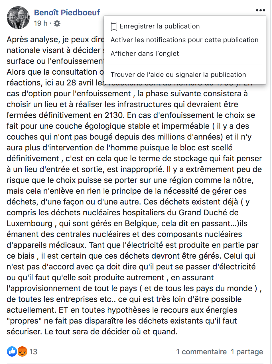 Benoît Piedboeuf a réagi sur les réseaux sociaux. (Photo: capture d'écran)