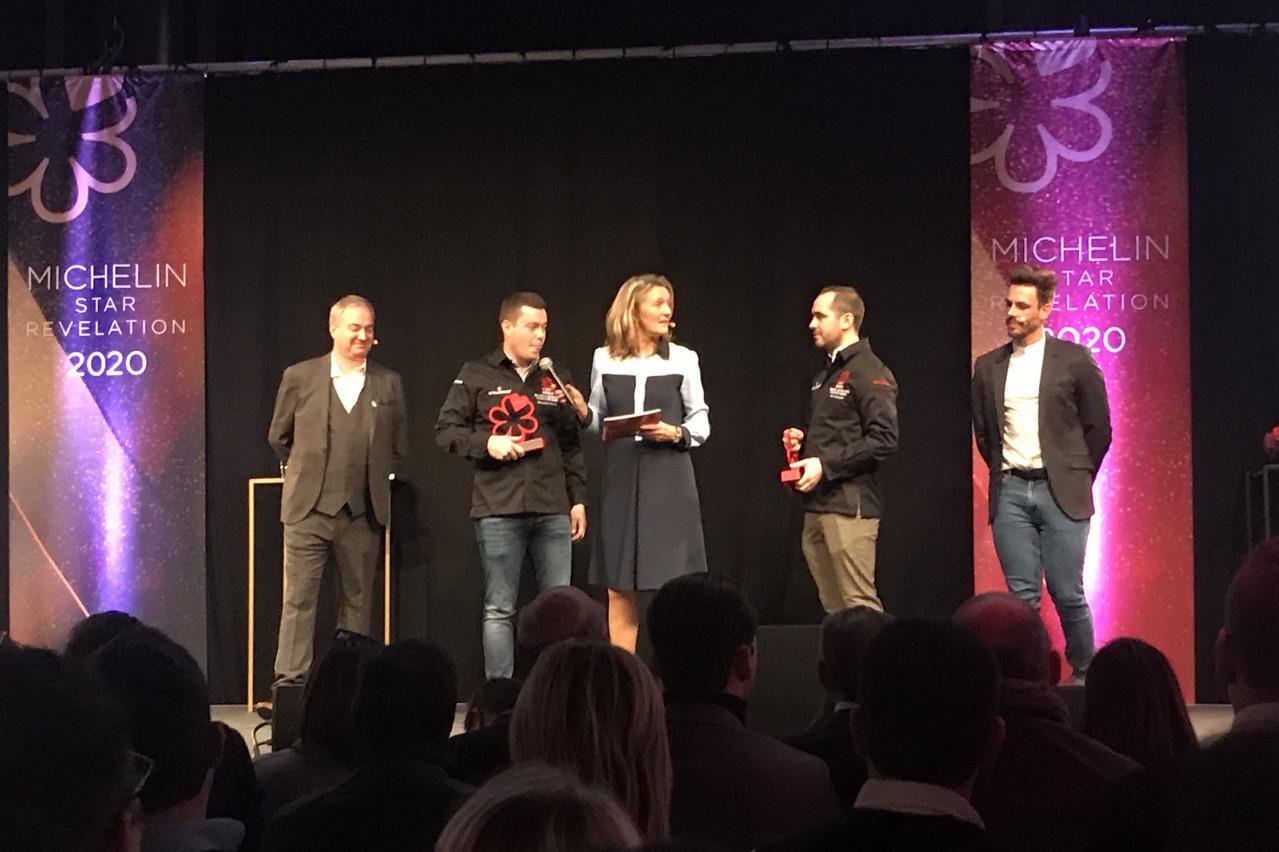 JeanVrijdaghs et SébastienHankard, «Meilleurs Jeunes Chefs» du restaurant Le Gastronome à Paliseul, sont récompensés d'une première étoile à 24 et 26ans. (Photo: Paperjam)