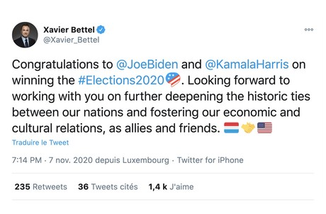 Xavier Bettel n'a pas tardé à saluer la victoire de Joe Biden. (Photo: Capture d'écran/Twitter/@Xavier_Bettel)