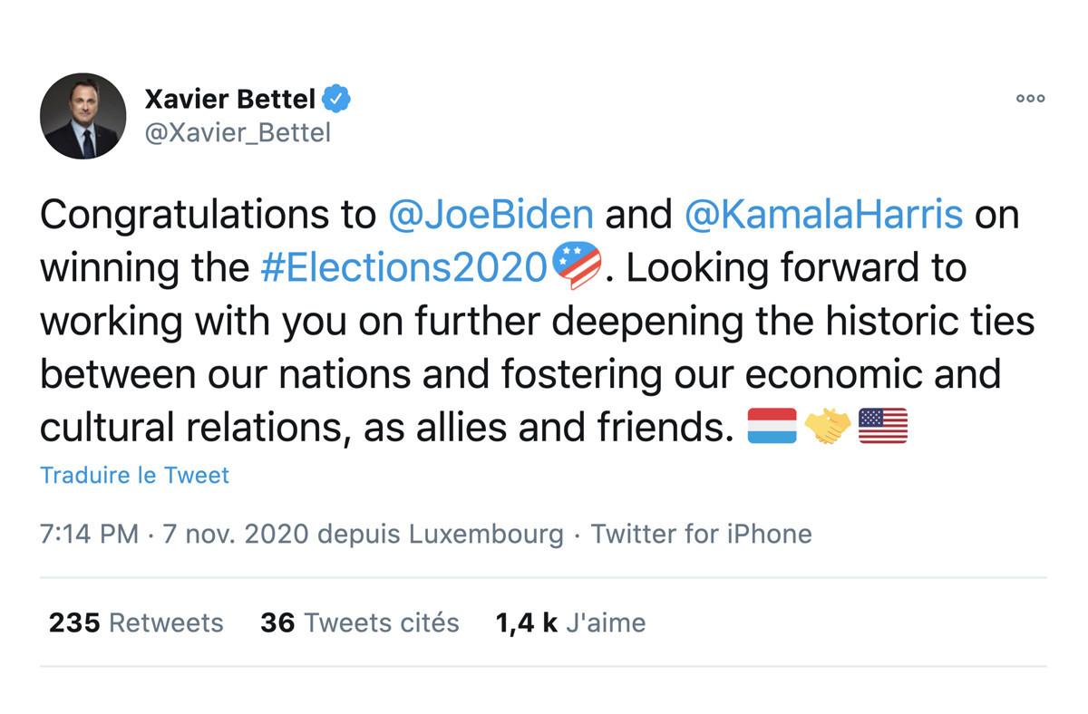 Xavier Bettel n'a pas tardé à saluer la victoire de Joe Biden. (Photo: Capture d'écran/Twitter/@Xavier_Bettel)