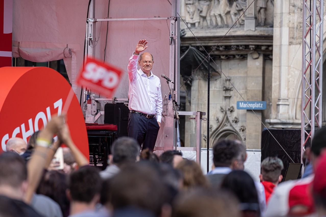 """SPD leader Olaf Scholz, pictured in Munich on September 18, could lead a so-called """"traffic light"""" coalition as Germany's next chancellor. Copyright (c) 2021 Framalicious/Shutterstock.  No use without permission."""