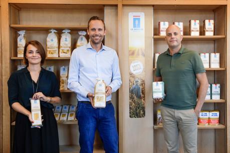 JulieWattiaux, head of marketing, JeanMuller, managing director des Moulins de Kleinbettingen etPhilip Van Woensel, fondateur de BetoCee, l'agence qui a accompagné l'entreprise dans sa démarche de «branding». (Photo: Romain Gamba/Maison Moderne)