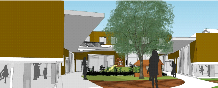 On the inside of the plot, a courtyard is created between the wings of the building. Illustration: Besch da Costa Architects