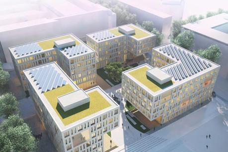 Le bâtiment IAK, achevé l'été dernier, est situé au coin des rues Alcide de Gasperi, A. Wehrer et A. de St-Exupéry. (Photo: KCAP Architects & Planners et Arlette Schneiders Architectes)
