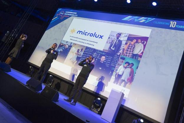 L'équipe de Microlux avait recueilli les votes du public en prélude à la remise des prix lors du Luxembourg Sustainability Forum d'IMS en novembre 2017. (Photo: IMS Luxembourg)