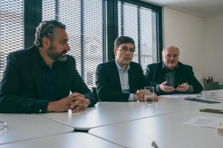 Jos Dell, président et architecte, Andrea De Cillia, vice-président et ingénieur-conseil, et Pierre Hurt, directeur.  (Photo: Sven Becker)