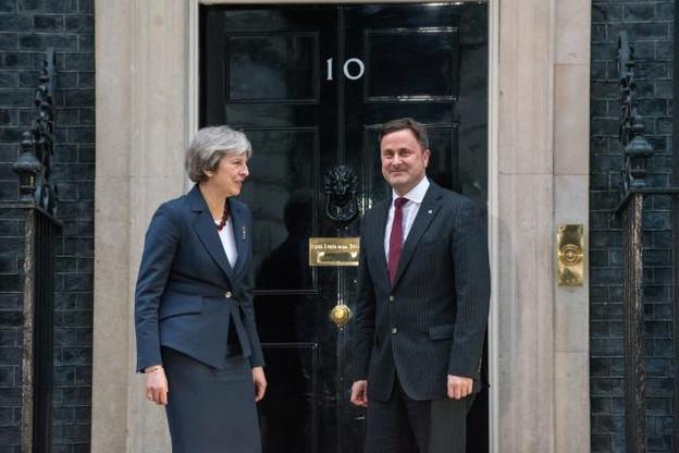 Theresa May, Premier ministre du Royaume-Uni et Xavier Bettel, au 10, Downing Street. (Photo: SIP - Charles Caratini)