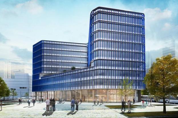 14.000m² d'espace au sol, sur 30 ares de terrain, 8 étages, 260 places de parking et un auditorium de 300 places. (Photo: ARHS)