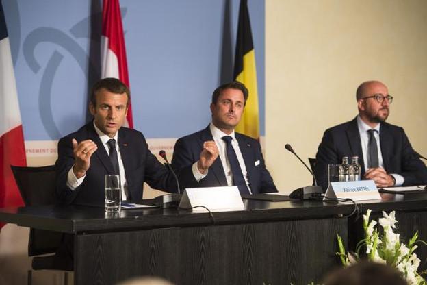 «L'Europe n'a pas été construite pour favoriser des modèles de dumping social ou de dumping fiscal», a rappelé Emmanuel Macron, en référence à sa volonté de revoir la directive concernant le travail détaché. (Photo: Anthony Dehez)