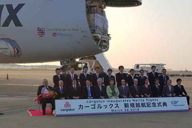 Le Boeing 747-8F de Cargolux a été accueilli en grande pompe à l'aéroport de Tokyo-Narita. (Photo: DR)
