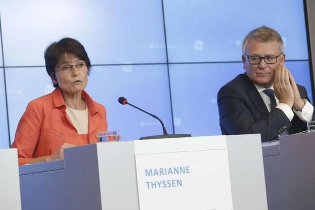 Marianne Thyssen et Nicolas Schmit ont échangé leurs points de vue respectifs sur la proposition de la Commission relative au chômage frontalier. (Photo: eu2015.lu / archives)