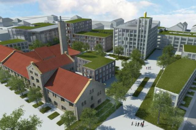 Le projet «Dräieck Dikrech», conçu par le bureau Beiler + François Architectes, permet d'envisager l'organisation du site. (Visuel: Beiler + François Architectes)