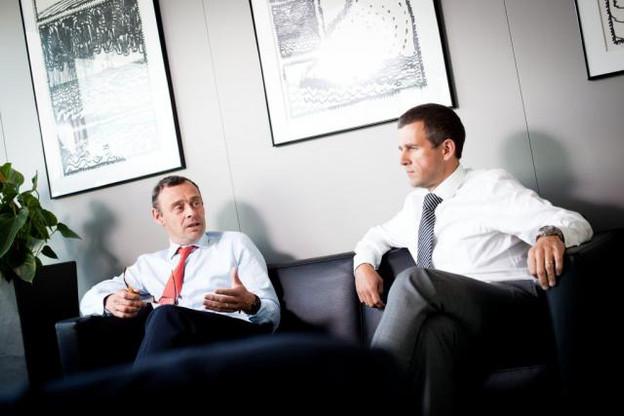 Patrick Keusters et Geert De Bruyne, administrateurs délégués de la banque. (photo: Jessica Theis / archives)