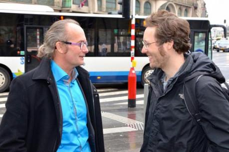 Jan Philipp Albrecht (à droite, avec Claude Turmes): «Les amendes doivent être de véritables sanctions». (Photo: Dei Greng)
