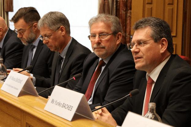 Maroš Šefčovič aux côtés du président Mars Di Bartolomeo et des députés Henri Kox et Franz Fayot. (Photo: Chambre des députés)