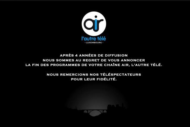 C'est désormais un écran noir marqué du message annonçant la fin des programmes qui accueille les visiteurs du site internet de la chaîne. (Photo: DR)