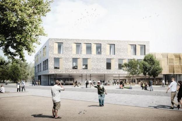 Le bâtiment mixte donnant sur la place centrale. (Illustration : WW+)