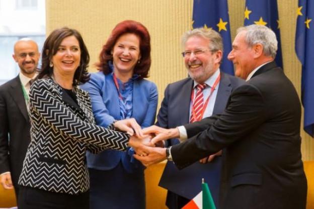 Le 7 avril dernier, une déclaration de collaboration parlementaire était signée en vue du trio Italie-Lettonie-Luxembourg. (Photo: LRS)