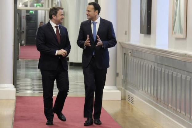 Xavier Bettel et Leo Varadkar souhaitent «renforcer les échanges» entre Dublin et Luxembourg, notamment en matière de services financiers. (Photo: Ministère d'État)