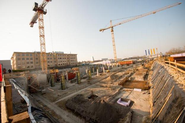 L'immeuble Dyapason en construction proposera 11.500 mètres carrés de surface de bureaux. (Photo: Christophe Olinger)