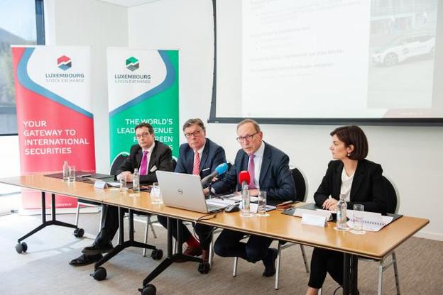 Maurice Bauer, Frank Wagener, Robert Scharfe et Julie Becker ont fait l'état des lieux des résultats et innovations développés par la Bourse de Luxembourg. (Photo: Lala La Photo)