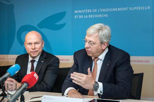 Le nouveau recteur, Stéphane Pallage (à gauche), a assisté aux dernières réunions du conseil de gouvernance présidé par Yves Elsen autour du plan quadriennal de l'Uni. (Photo : Nader Ghavami)