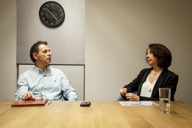 Salvatore Genovese et Marie-Anne Salier dans les locaux de Maison Moderne, au mois d'avril 2017. (Photo: Maison Moderne)