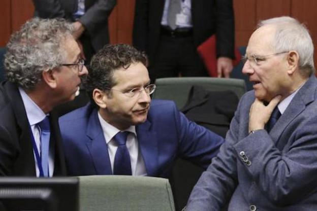 Pierre Gramegna, en compagnie du président de l'Eurogroupe, Jeroen Dijsselbloem, et du ministre allemand des Finances, Wolfgang Schäuble. (Photo: Paperjam.lu / archives)