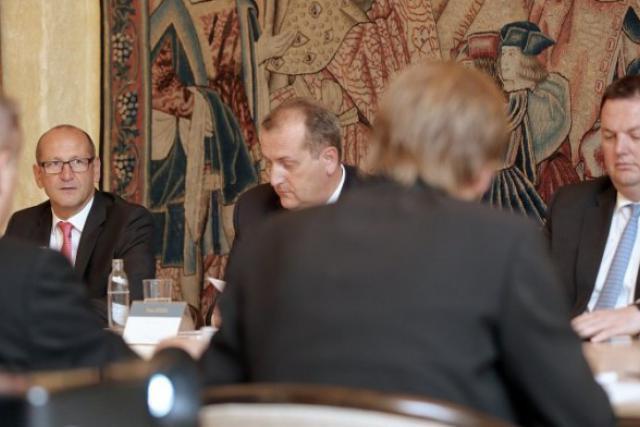 La satisfaction était de mise ce mardi pour le Marc Lauwers, Yves Stein et Carlo Friob.  (Photo: Luc Deflorenne)