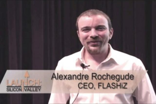Alexandre Rochegude (ici lors d'un speech en Californie) n'est plus actionnaire de Flashiz mais il agit pour elle. (Photo: DR)