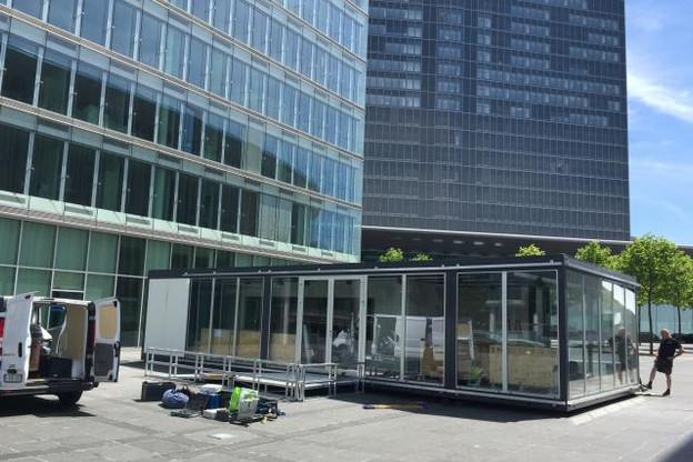 En montage depuis lundi, la structure de 75 m2 dédiée au tram sera officiellement inaugurée le 7 juillet prochain. (Photo: Paperjam/DR)