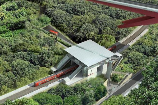 La future gare de Pfaffenthal-Kirchberg sera mise en service le 10 décembre 2017. Elle sera desservie, dans un premier temps, par quatre trains par heure, dans les deux sens. (Photo: paperJam / Archives)