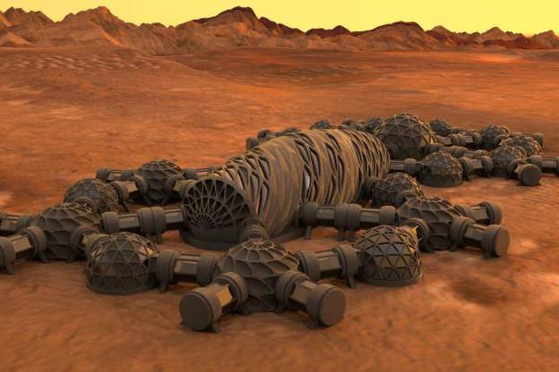 La Nasa et ses partenaires travaillent sur un écosystème qui permettrait de construire des habitations capables de résister à des températures extrêmes, aux radiations et aux micrométéorites à partir des ressources naturelles de Mars. (Visuel: DR)