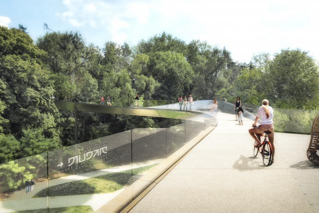 Cette nouvelle passerelle permettra d'avoir un accès facilité au Mudam, qui, actuellement, subit un accès difficile pour les piétons et les cyclistes. (Illustration: Marc Mimram Ingénierie)