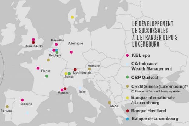 Le développement de succursales à l'étranger depuis Luxembourg. Il faut encore ajouter à cette carte une succursale de la Banque Havilland aux Bahamas et une succursale de la Bil à Dubaï. (Illustration: Maison Moderne)
