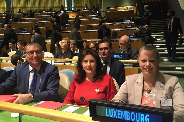 André Weidenhaupt, MDDI, Sylvie Lucas, ambassadeur et représentant permanent du Luxembourg auprès des Nations unies et Carole Dieschbourg, ministre de l'Environnement. (Photo: SIP / archives)