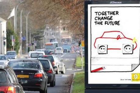 La 1re édition du concours portait sur des projets de campagne d'affichage pour les futures voitures électriques de Renault. (Photo: JCDecaux)