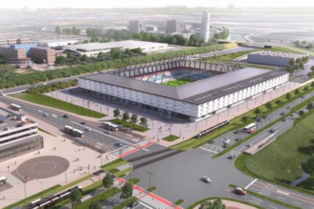 Situé dans le prolongement du boulevard Kockelscheuer, le futur stade sera desservi par le tram et se situera à côté d'un P+R de 2.000 places. (Photo: PGNL)